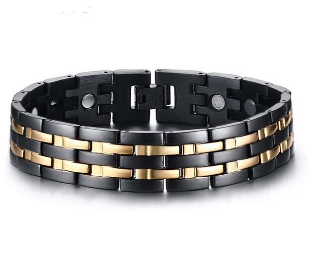 Black With Gold Stainless Steel Magnetic Therapy Health Care Link Chain Hologram Bracelet Men S Fashion Gifts 15mm 8 86 In Bracelets From Jewelry