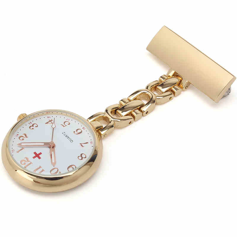 Luxury Fashion Stainless Steel Pocket Watch Brooch Clip Quartz Fob Pendant Nurse Doctor Hanging Pocket Watch Nurse Watch
