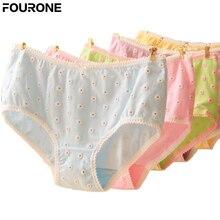 Sexy Nova Marca de Alta qualidade das Mulheres 3D Pequena Margarida  Impressão Underwear Cintura Baixa Algodão Bowknot Cuecas Cal. 5dd8d76a0dc