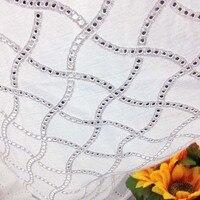 1 yardas 91*130 cm, blanco africano tela de encaje de algodón ojal, suizo de la gasa de tejido para las faldas vestido, material del remiendo diy de coser tela