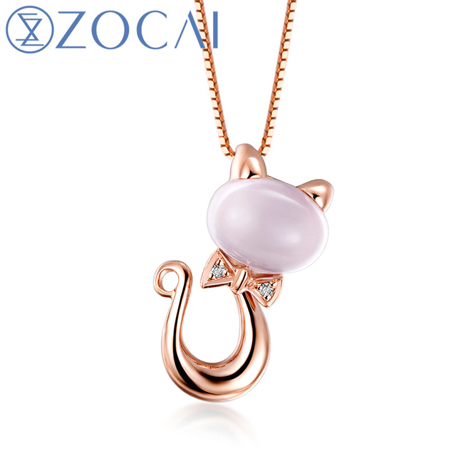 ZOCAI Intelligente Katze Real 1,3 CT Zertifikat Rosenquarz mit 0,006 Ct Diamant  Anhänger + a7533ae927