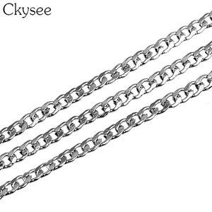 Image 2 - Ckysee 10 متر/لفة 3/4/5 مللي متر العرض الفولاذ المقاوم للصدأ السائبة سلسلة فضية للرجال فيجارو ربط سلسلة القلائد لصنع المجوهرات لتقوم بها بنفسك