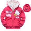 2015 Hello Kitty Niños Abrigos Abrigos de Dibujos Animados Gruesa de Cachemir Niños Chaquetas Calientes del Invierno Con Capucha Bebé Capa de Las Muchachas de Una Pieza