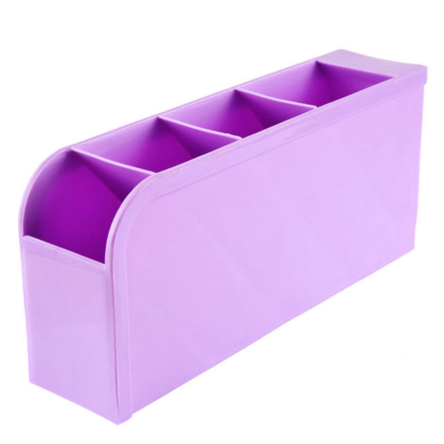 Attrayant Purple Office Desk Table Pens Organizer Storage Box Home 4 In Drawer  Cosmetic Divider Boxes Plastic