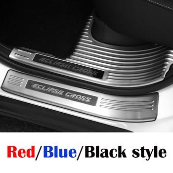 Para Mitsubishi Eclipse Cross 2018 puerta de acero inoxidable Sill cubierta de panel de placa de borde negro/azul/rojo estilo de coche