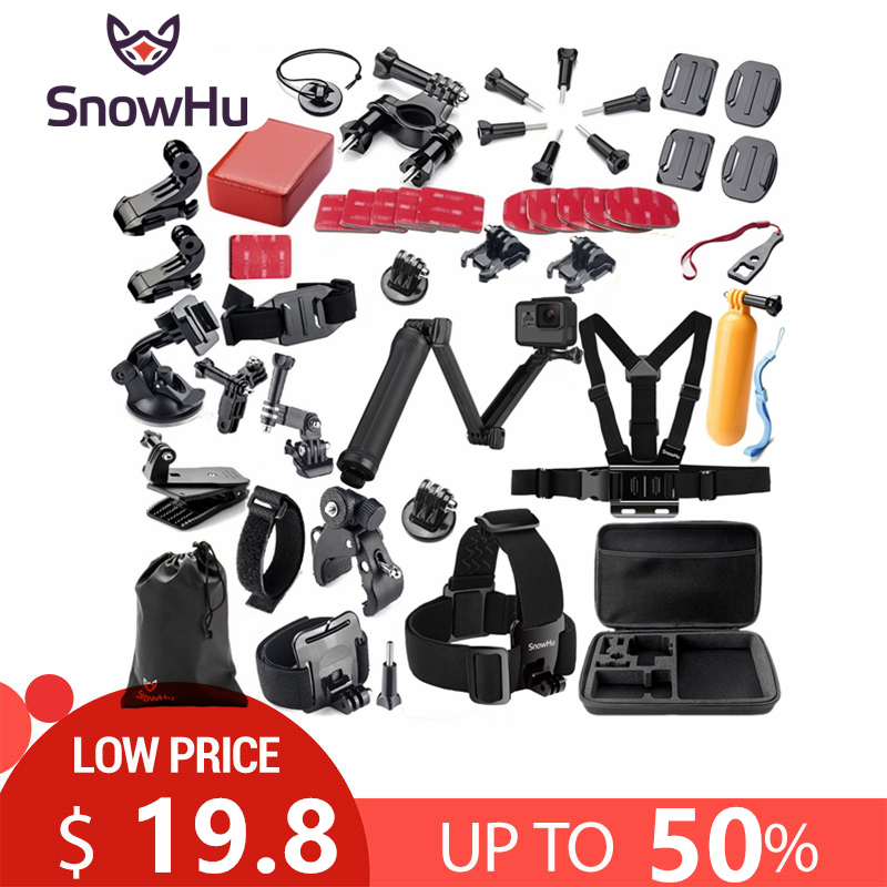 SnowHu for Gopro Accessories set for go pro hero 7 6 5 4 3 kit 3 way selfie stick for Eken h8r / for xiaomi for yi 4K EVA GS02