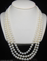 Fine 7 8mm AAA white pearl 925S necklaces 252729