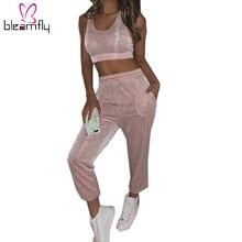 Perak Bling Sexy 2 Sepotong Set Wanita Rendah Memotong Tank Top Serut  Celana Pensil Wanita Musim Gugur Kasual Baju Olahraga Paka. 38a026263e