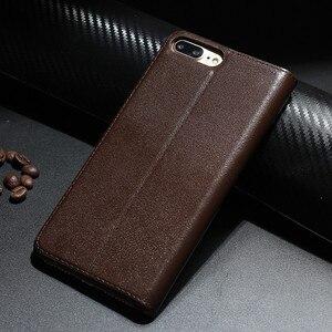 Image 2 - Retro Luxury Leather Flip Case for iPhone 8 plus Genuine Cowhide Flip Case for Apple iPhone 7 plus/7/8/10 X Magnetic Closure