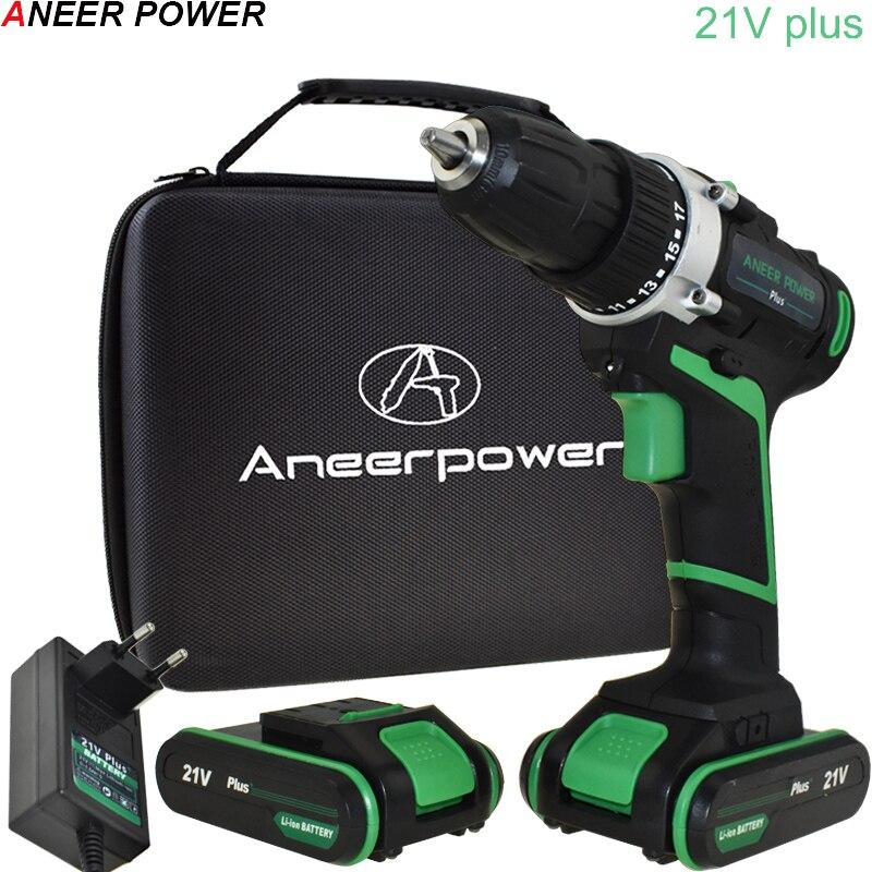21v Ferramentas De Poder de Mão Dupla Velocidade Furadeira Elétrica Cordless Bateria Da Broca chave de Fenda Elétrica Broca De Perfuração De Mini 45 N/ M de Torque