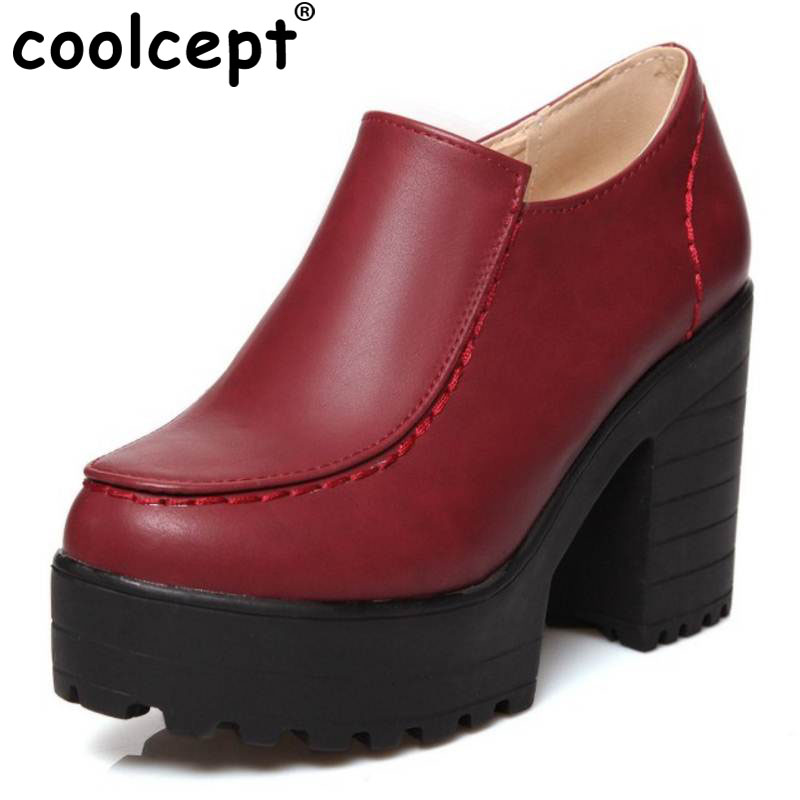 Coolcept Size 34-46 Women Ankle Boots Vintage Square High Heels Party Casual Outdoor Dress Shoes Less Platform Motorcycle Boots