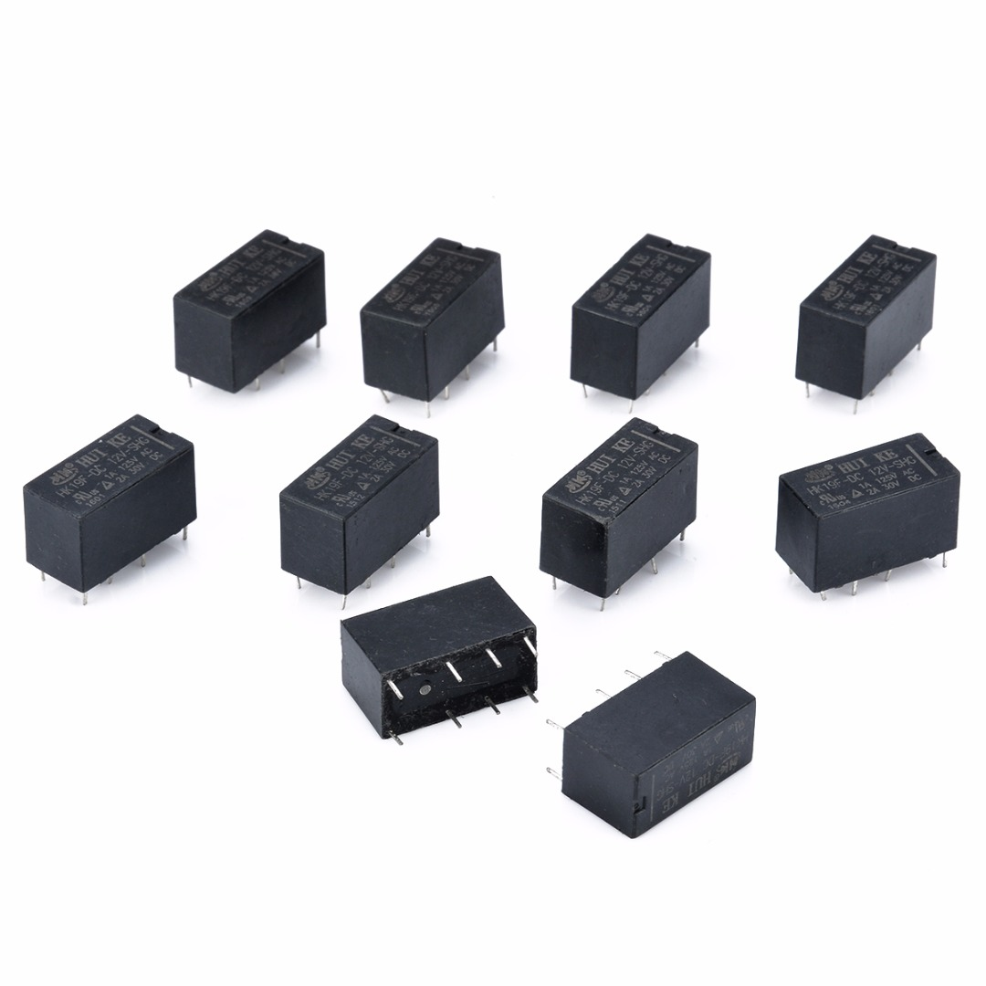 цена на 10pcs HK19F Power Relays DC 12V SHG Coil DPDT 8 Pin Mini Power Relays Set PCB Type For Remote Control Automatic Control System