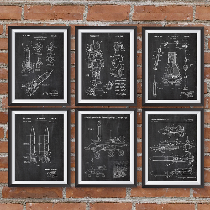 Space Patent Posters And Prints Outer Space Ships Blueprints Poster Canvas Painting Science Wall Art Pictures Decor Gift Idea