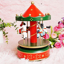 1 pcs New Wooden Merry-Go-Round Carousel Music Box For Kids Wedding Gift Toy