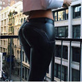 Woman Push Up Leather Pants Jean Pants Elastic Tight Trousers Pu Leather Pants Hip Freddy Fitness Pencil Pants 63663