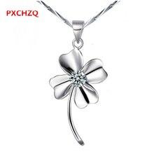 La sra. trébol de cuatro hojas colgantes de plata de moda de lujo precioso flores incrustaciones cubic zirconia colgante, collar