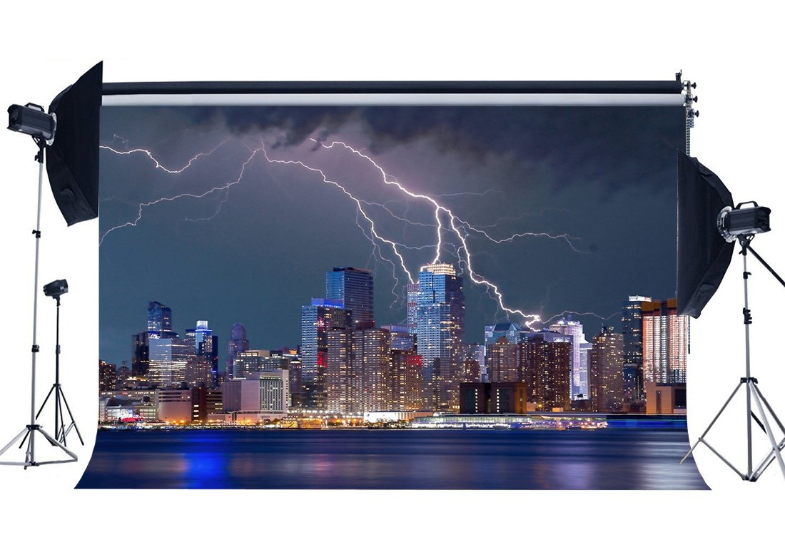 Cityscape Backdrop New York City Night View Backdrops Lightning Shining Lights Skyscraper Photography Background-in Background from Consumer Electronics
