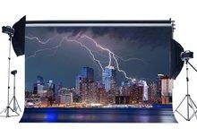 Paesaggio urbano Sfondo New York City Night View Fondali Fulmine Brillante Luci Grattacielo Fotografia di Sfondo