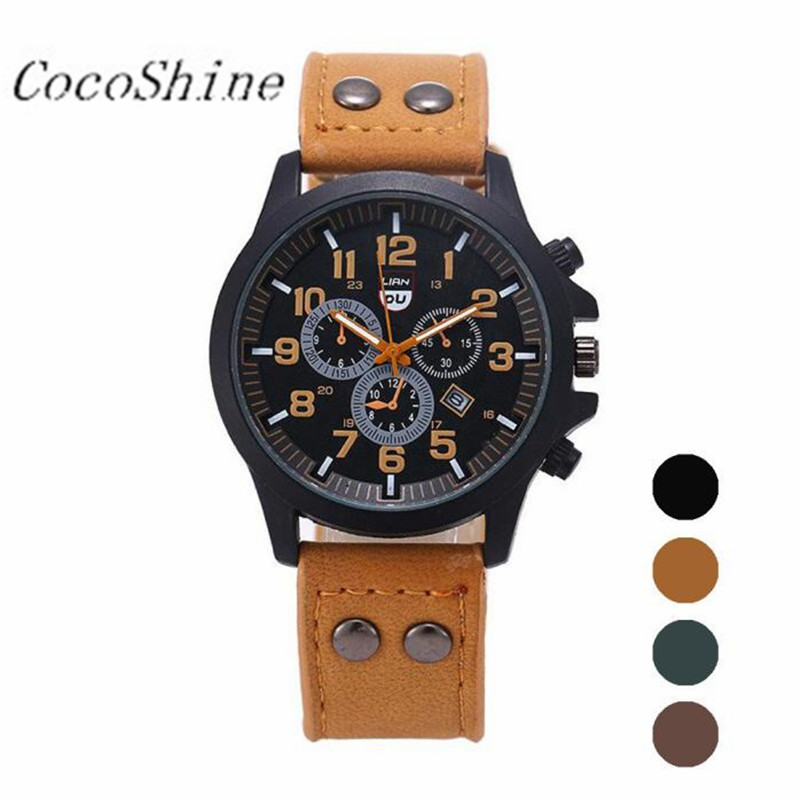 CocoShine A-969  Classic Mens Waterproof Date Leather Strap Sport Quartz Army Watch wholesale Free shipping