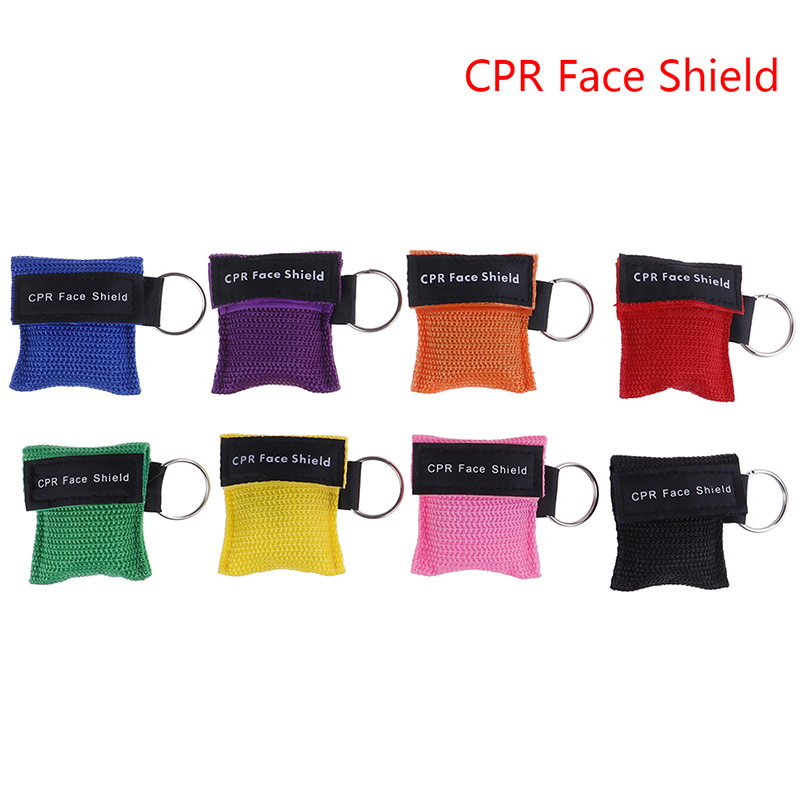 1pc CPR Resuscitator Mask Keychain First Aid Emergency Face Shield Mask Health Care Tools Color Randomly