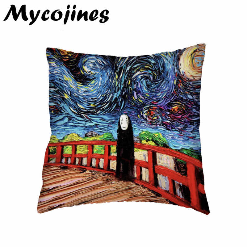 Hot Sale Cushion Cover Spirited Away Pig Black Boy Totoro Home Bedroom Sofa Decor Kids Gift Polyester Peach Skin Pillow Cases