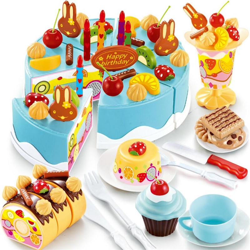 37-75Pcs Birthday Cake Toy DIY Fruit Cream Christmas Gift Set Children Kids Pretend Play Toys set Gift For Girl 6pcs set movie trolls 4 3inch height figures toys cake topper kids birthday gift children funny toys
