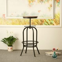 iKayaa Bar Stool Industrial Style Height Adjustable Swivel Bar Stool Natural Pinewood Top Kitchen Breakfast Dining Chair