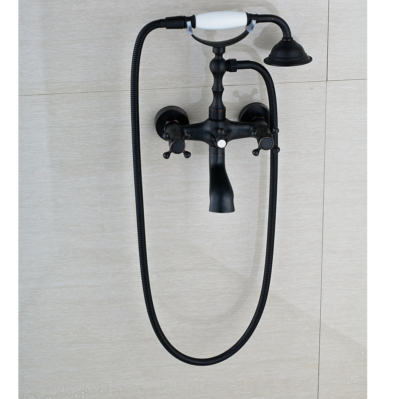 Oil Rubbed Bronze Shower Faucet Mixer Spraryer Tap Wall Mounted Dual Handles NEW oil rubbed bronze square toilet paper holder wall mounted paper basket holder