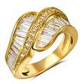 Luxo Cubic Zirconia Anéis para As Mulheres Banhado A Ouro Anéis de Casamento de Noiva Moda Jóias Finas Frete Grátis