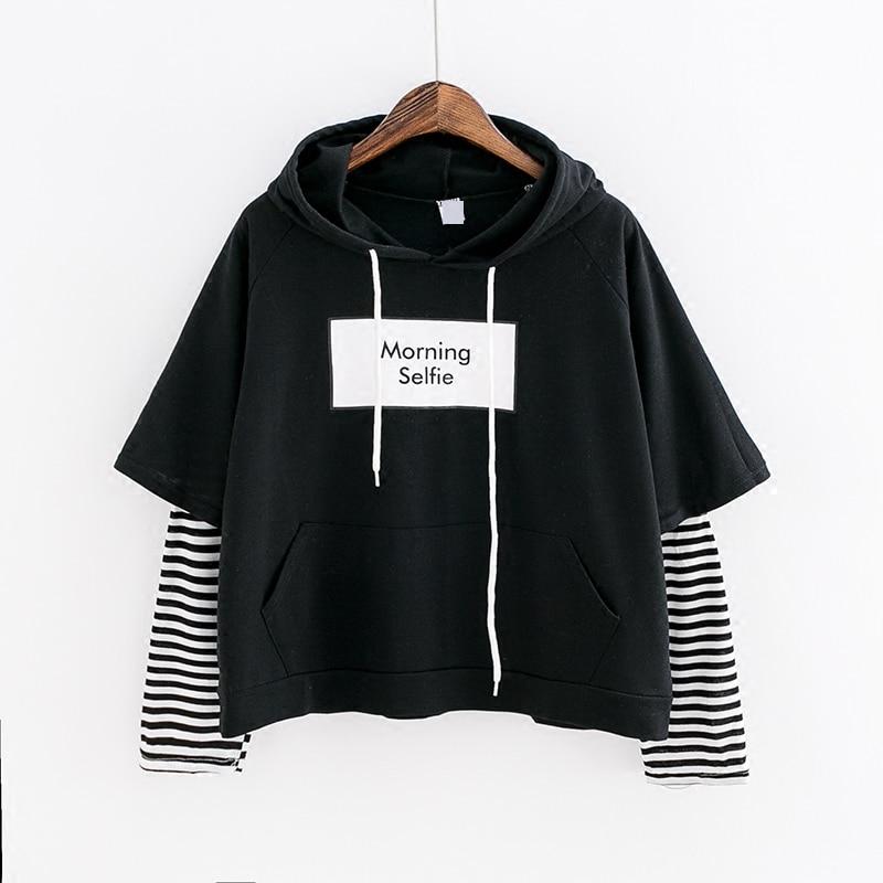 2019 Women Sweatshirt Fashion Striped Sleeve Patchwork Casual Hoodies Cotton Spring Kpop Harajuku EXO Dropshipping Clothes