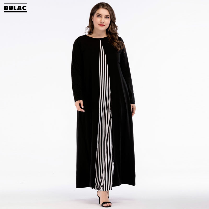 2018 Ramadan Middle East Abaya Robe Muslim Big Women Fashion O-Neck Striped Knitted Long-sleeved Casual Loose Maxi Long Dress rights of sri lankan women migrant workers in middle east