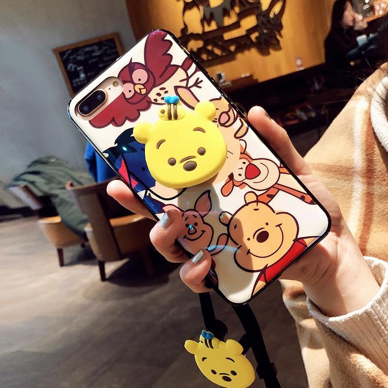 3 pcs Para iPhone XS max caso Bonito, dos desenhos animados Winnie blue ray tampa traseira macia Para iPhone XR X 8 7 8 plus plus 6 6 6 S p + Suporte + strap