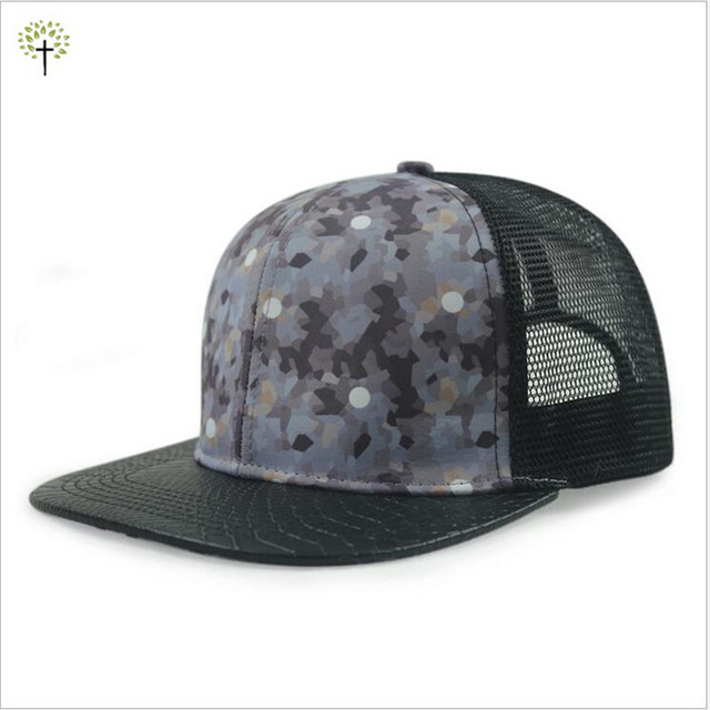 3748845cb30 2016 Fashion Grey Army Green Camouflage Printed Snapback Caps with Net Back  Snake Skin Visor Summer Outdoor hat Breathable