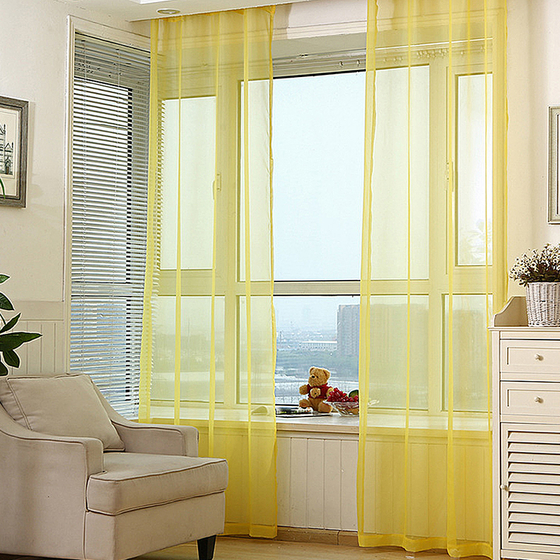 White Curtain For Living Room Bedroom Yellow Curtains Transparent Tulle  Screening Sheer Curtains Protector Green Voile Wp184#20 In Curtains From  Home ...