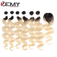Brazilian Body Wave Blonde Bundles With Closure KEMY HAIR Ombre Blonde 6 Bundles Human Hair Bundles With Top Closure 4*4