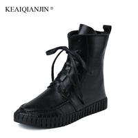 KEAIQIANJIN Woman Doc Martins Chaussure Lace Up Autumn Winter Platform Boots Genuine Leather Martins White Red