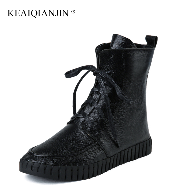 KEAIQIANJIN Woman Doc Martins Chaussure Lace-Up Autumn Winter Platform Boots Genuine Leather martins White Red Bota Blataforma