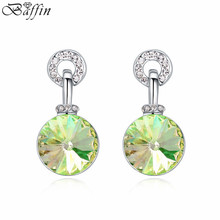 Baffin Original Crystals From Swarovski Round Piercing Earrings For Women Party Accessories Fashion Orecchini Jewelry(China)