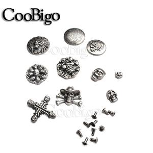 10sets Pewter Skull Studs Rivet Spikes For Punk Rock Garment Shoes Bag Cap Pets Collar DIY Leather Craft Accessory Cross Shape(China)
