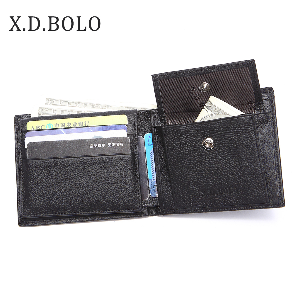 X.D.BOLO 2019 New Men Wallets Genuine Leather Purse Mens Money Bag Card Holder Wallet Man Leather Coin Pocket Wallet Male