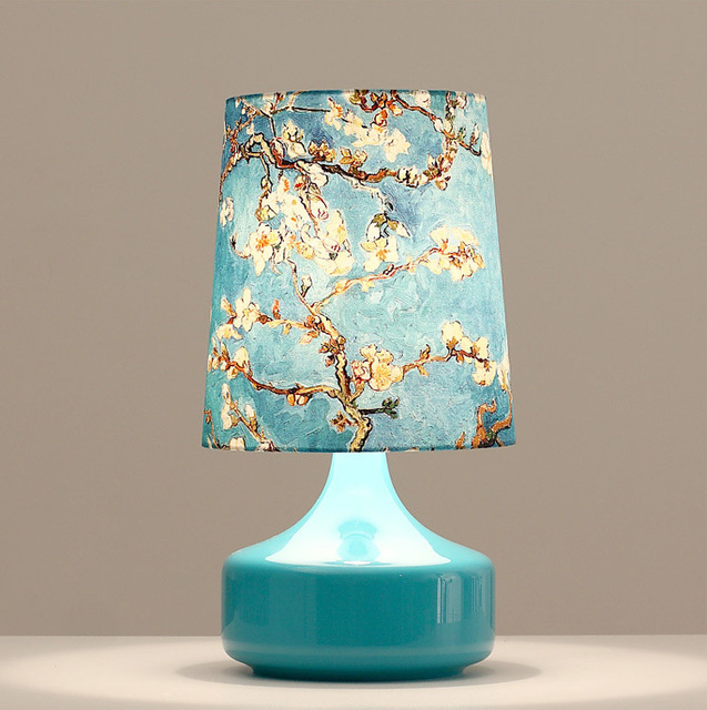 Small Home Deco Table Lamps Blue Glass Base Blue Shade With Patterns E27 Desk  Lamp Free