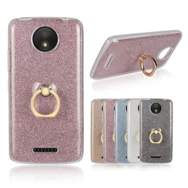 timeless design 85e72 d02f9 US $2.98 15% OFF|Case With Ring Holder for Motorola Moto C Plus Back Cover  Luxury Glitter Rubber Grip Gel Etui Hoesjes Capa Capinha Carcasa Coque-in  ...