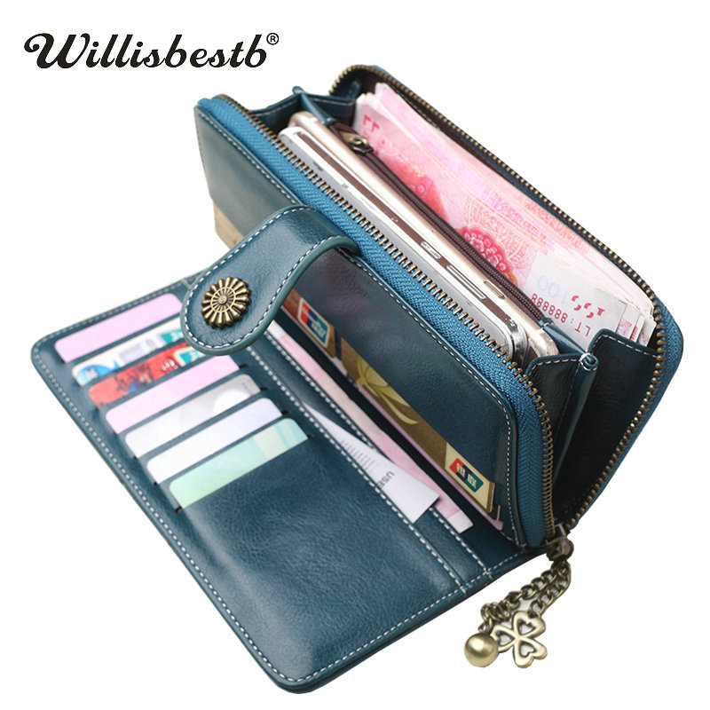 2018 New Vintage Button Phone Purses Women Wallets Female Purse Leather Brand Retro Ladies Long Zipper Woman Wallet Card Clutch