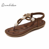 Rumbidzo Women Sandals 2018 Fashion Summer Beach Shoes Flip Flops Flat Heel Ankle Strap Sandalias Sapatos