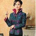Горячие Продажи Синий Китайских женщин Шелковый Атлас Куртка С Длинными Рукавами пальто Цветы Размер Sml XL XXL XXXL Бесплатная Доставка доставка