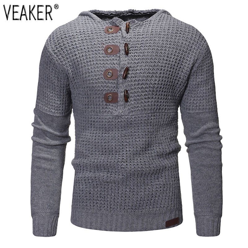 Pullover Sweaters Hooded Slim-Fit Knitted Male Men's Autumn Winter New Solid High-Street-Horn