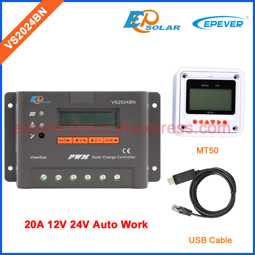 Off-Grid solar system controller connected EPSolar EPEVER solar regulator VS2024BN with USB cable and MT50 remote meter 20A epsolar solar regulator 30a 12v 24v with remote meter mt50 solar charge controller 50v ls3024b