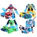 4 pçs/set bots resgate robô deformação bumblebee figuras de ação/optimus/bulldozer/helicóptero transformação robôs brinquedos
