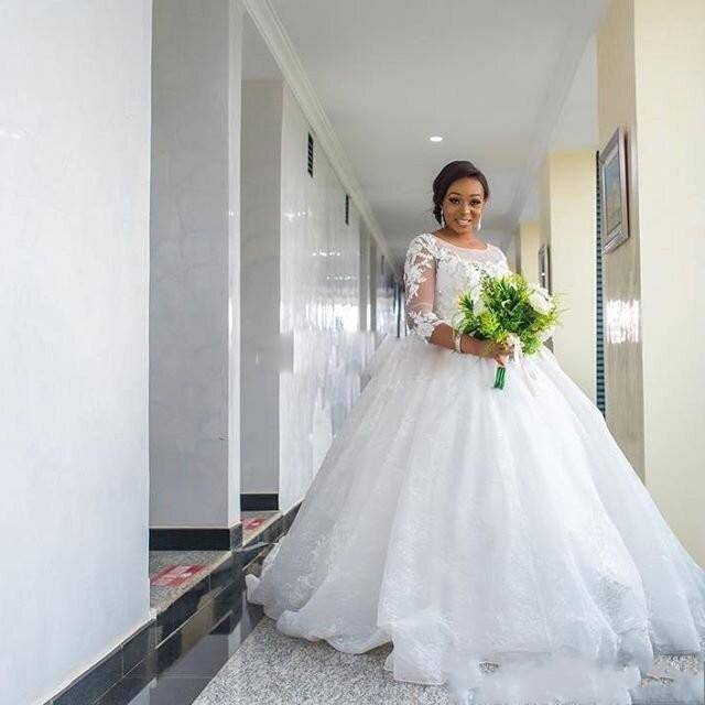 US $152.25 13% OFF|African Plus Size Wedding Dresses 3/4 Sleeves Lace  Appliques South Arabic ball gown Long Train Bridal Gowns wedding gowns-in  ...