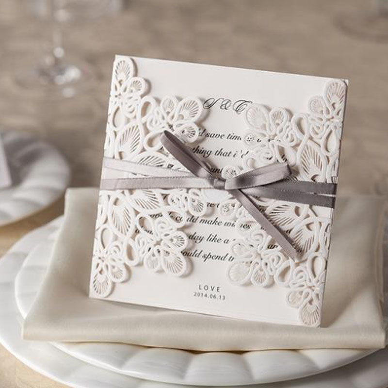 100pcs White Laser Cut White Wedding Invitations Card Personalized with Ribbon Envelope Seals Wedding Event & Party Supplies 1 design laser cut white elegant pattern west cowboy style vintage wedding invitations card kit blank paper printing invitation